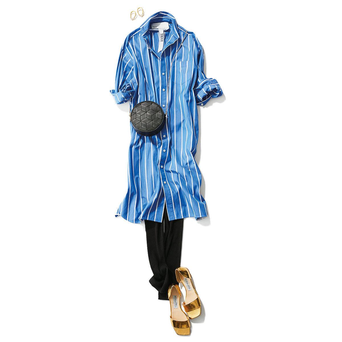 ジャケット×ストライプのシャツワンピース×レギンスコーデ