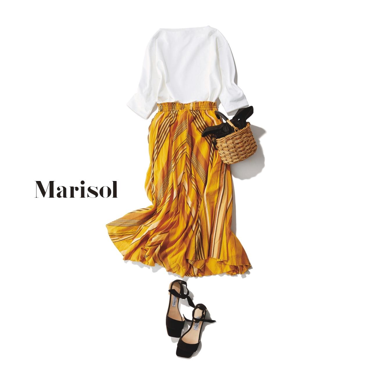 40代ファッション 白トップス×イエロースカートコーデ