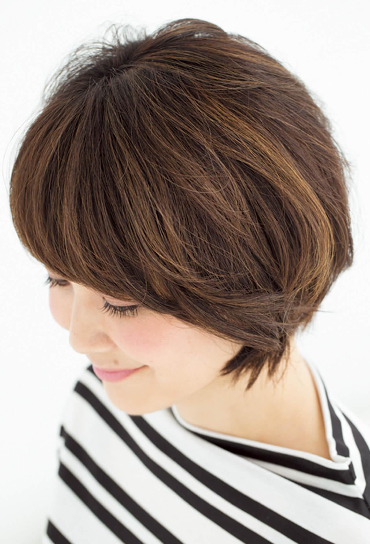 気になる白髪はグラデハイライトと深め前髪で解決!【40代のショートヘア】_1_4