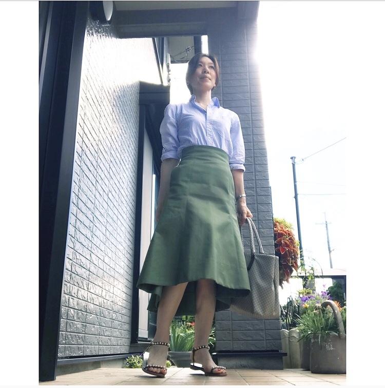 リアル通勤コーデ。夏が来た月曜日。ストライプシャツで爽やかワンツーコーデ!_1_1
