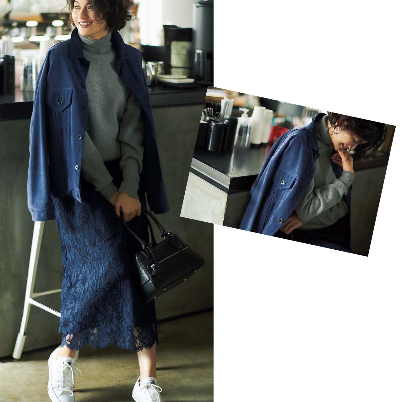 Gジャン✖レースのスカートコーデを着たモデルの渡辺佳子さん