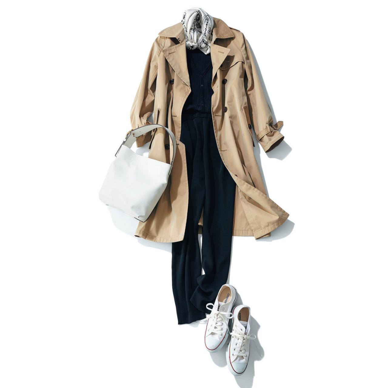 白コンバース ローカットスニーカー×トレンチコート&黒パンツのファッションコーデ
