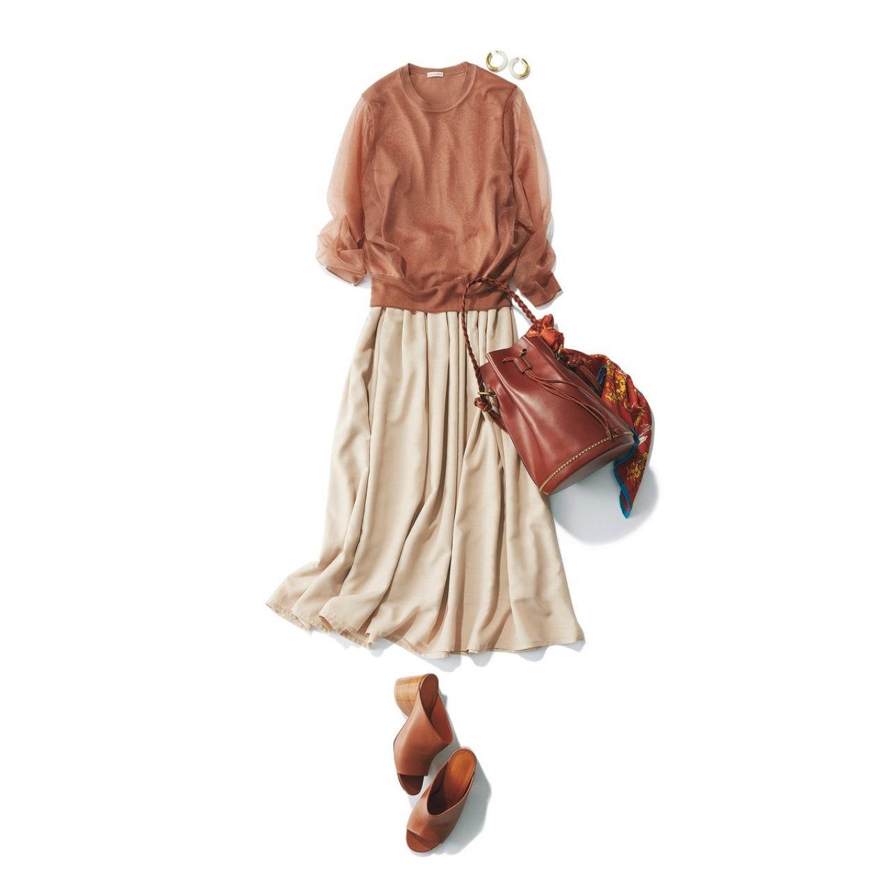 ベージュスカート×シースルーニットのファッションコーデ