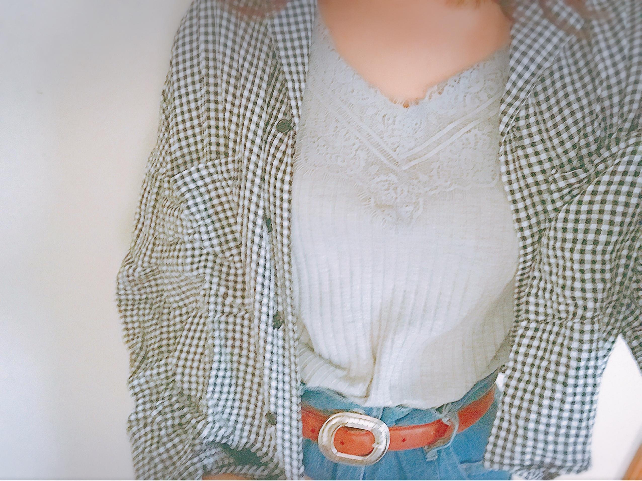 【この季節何着る?】ギンガムチェックの開襟シャツを着回し୧⃛(๑⃙⃘•ω•๑⃙⃘)୨⃛♪♪_1_1