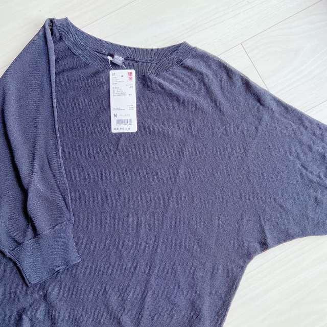 ユニクロ ライトシアーボートネックセーター(5分袖)