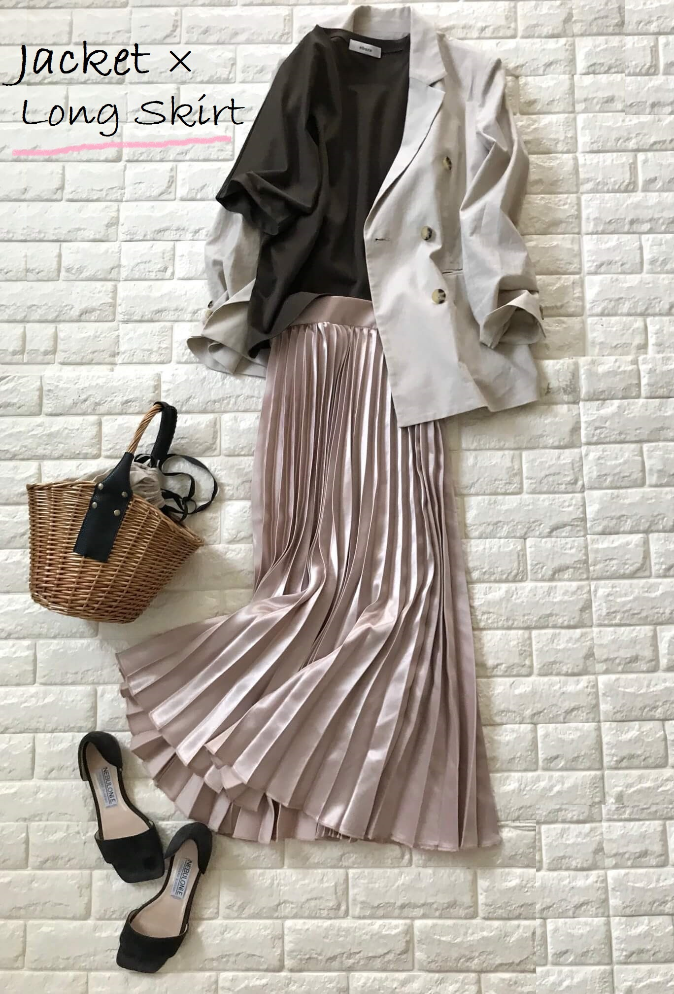 AG by aquagirlジャケットとプリーツスカートを合わせたコーデ