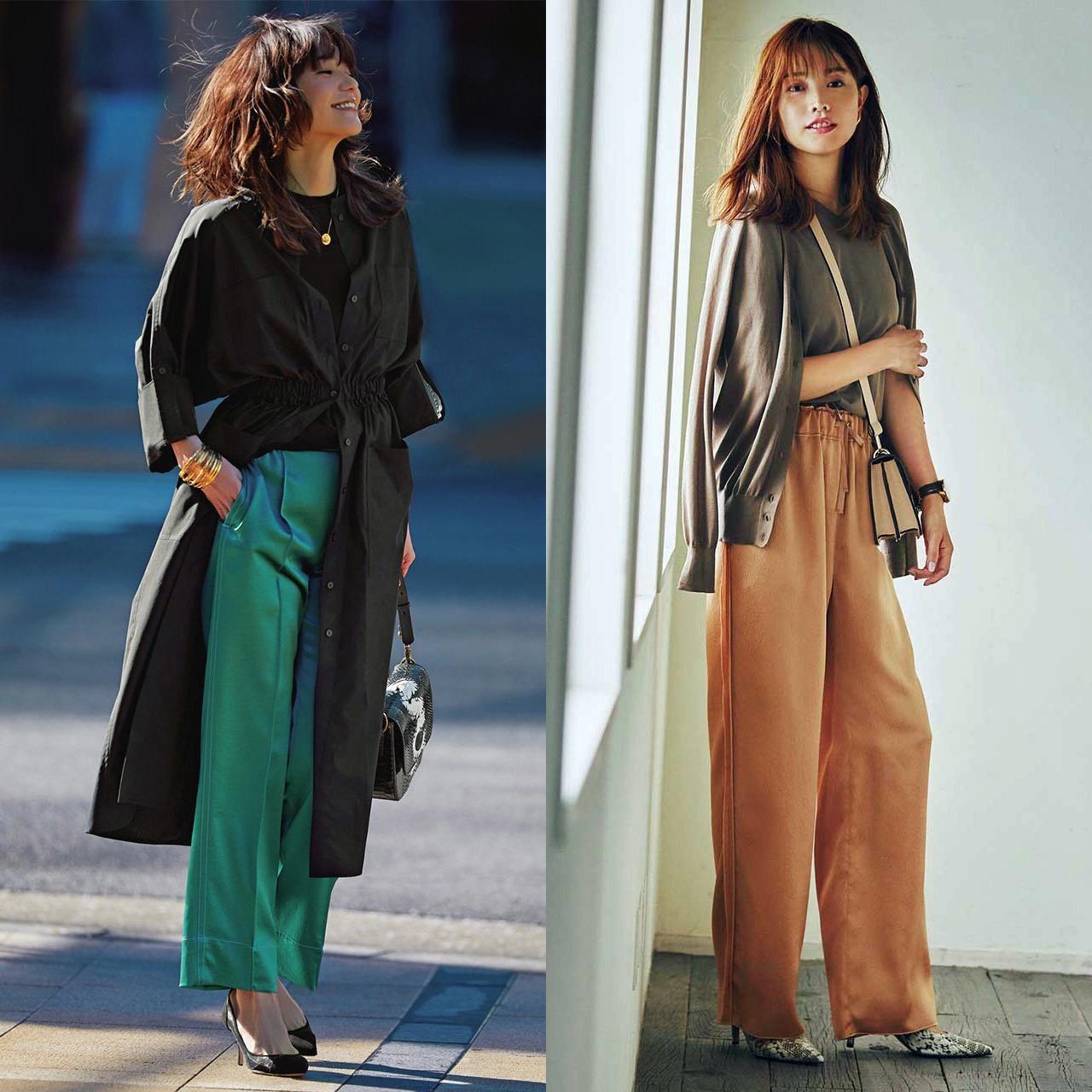 アラフォーの味方・パンツはツヤ素材を選んで女らしく華やかに!|40代ファッション