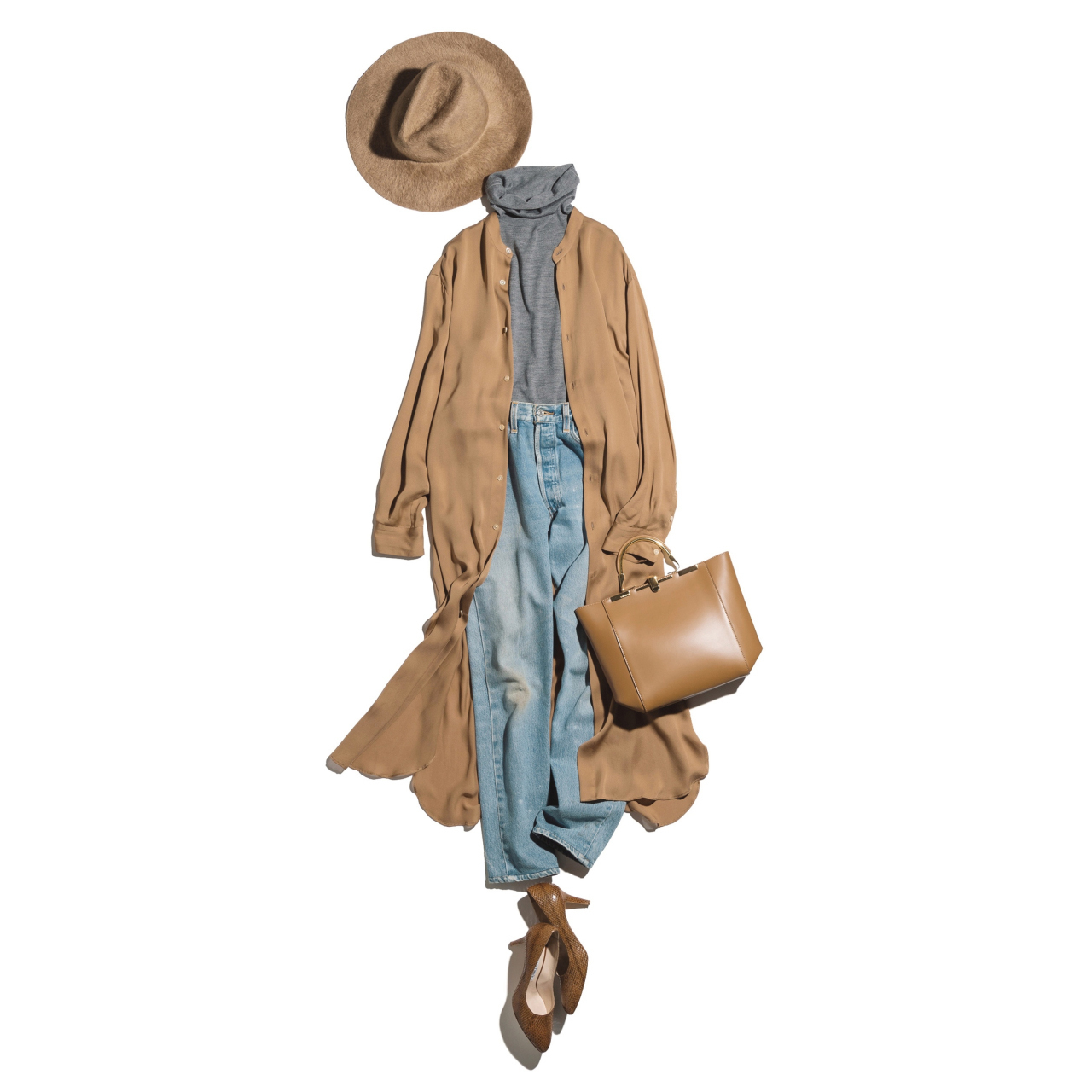 ロングカーディガン×デニムパンツのファッションコーデ