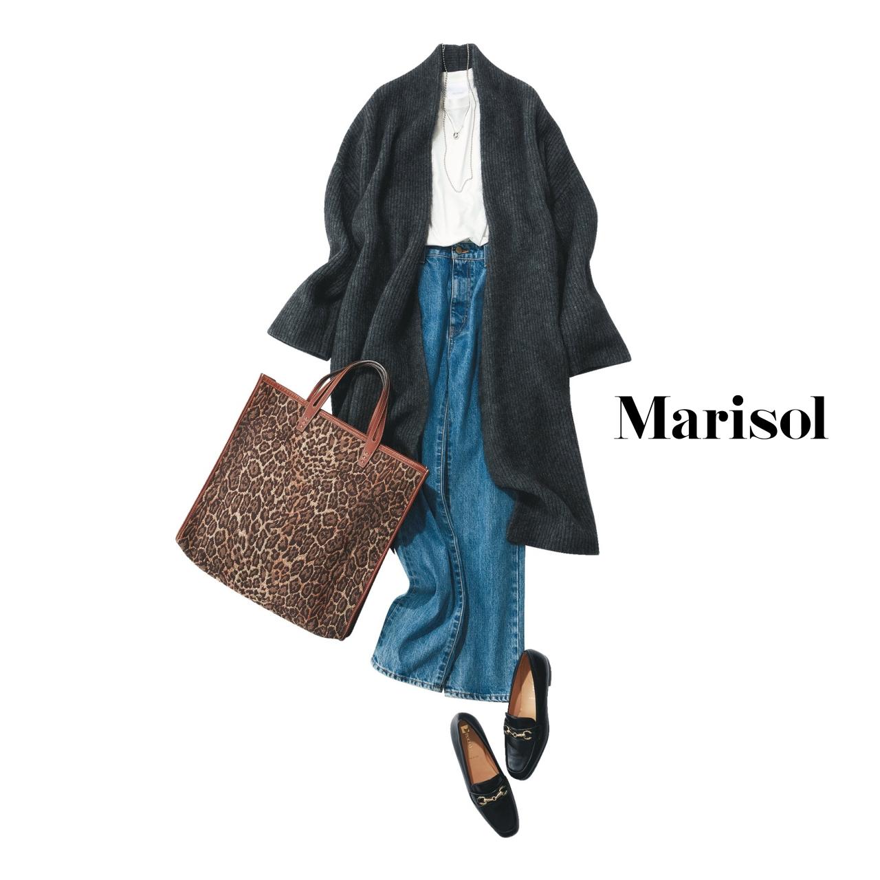 40代ファッション デニムパンツ×ロングカーディガンコーデ