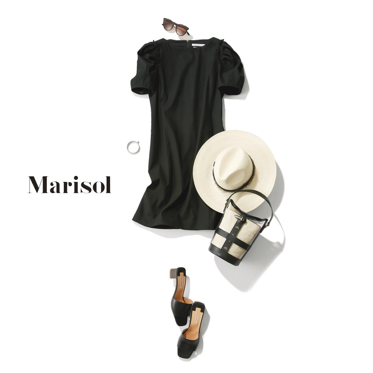 40代ファッション ブラックワンピースコーデ