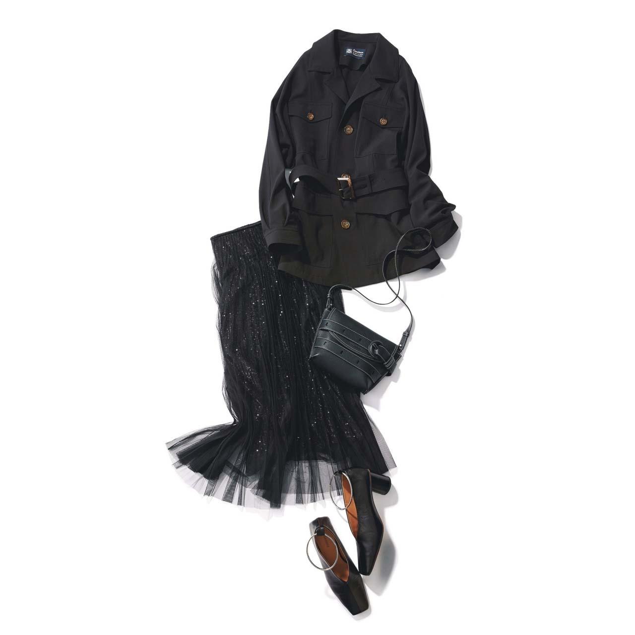 黒のチュールスカート×ジャケットコーデ