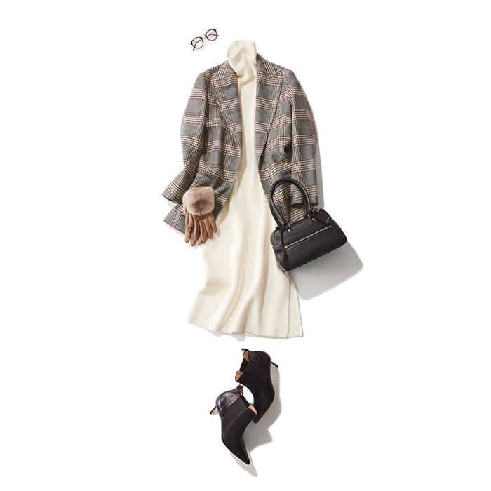 ファッション チェック柄ジャケット×白ニットワンピースコーデ