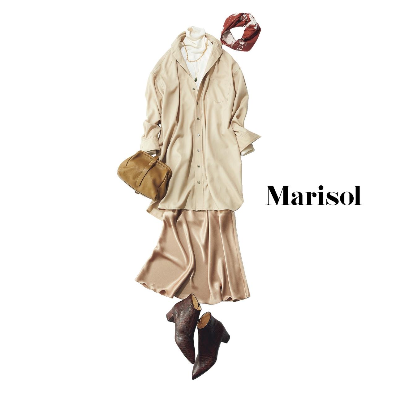 40代ファッション タートルネック×シャツ×てろんスカートコーデ
