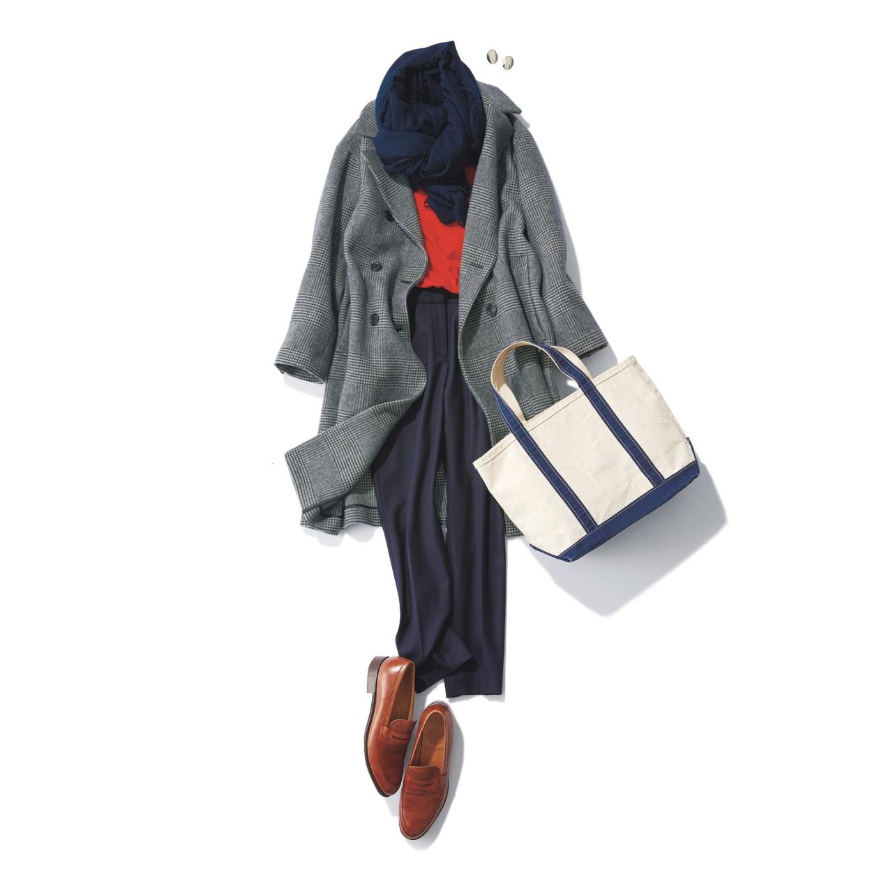 グレンチェック柄コート×赤ニットのファッションコーデ