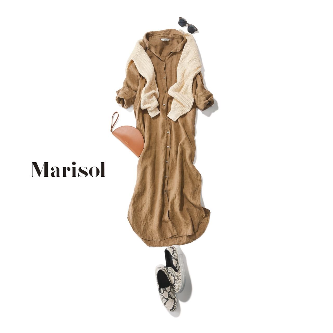 40代ファッション 肩がけニット×ベージュワンピースコーデ