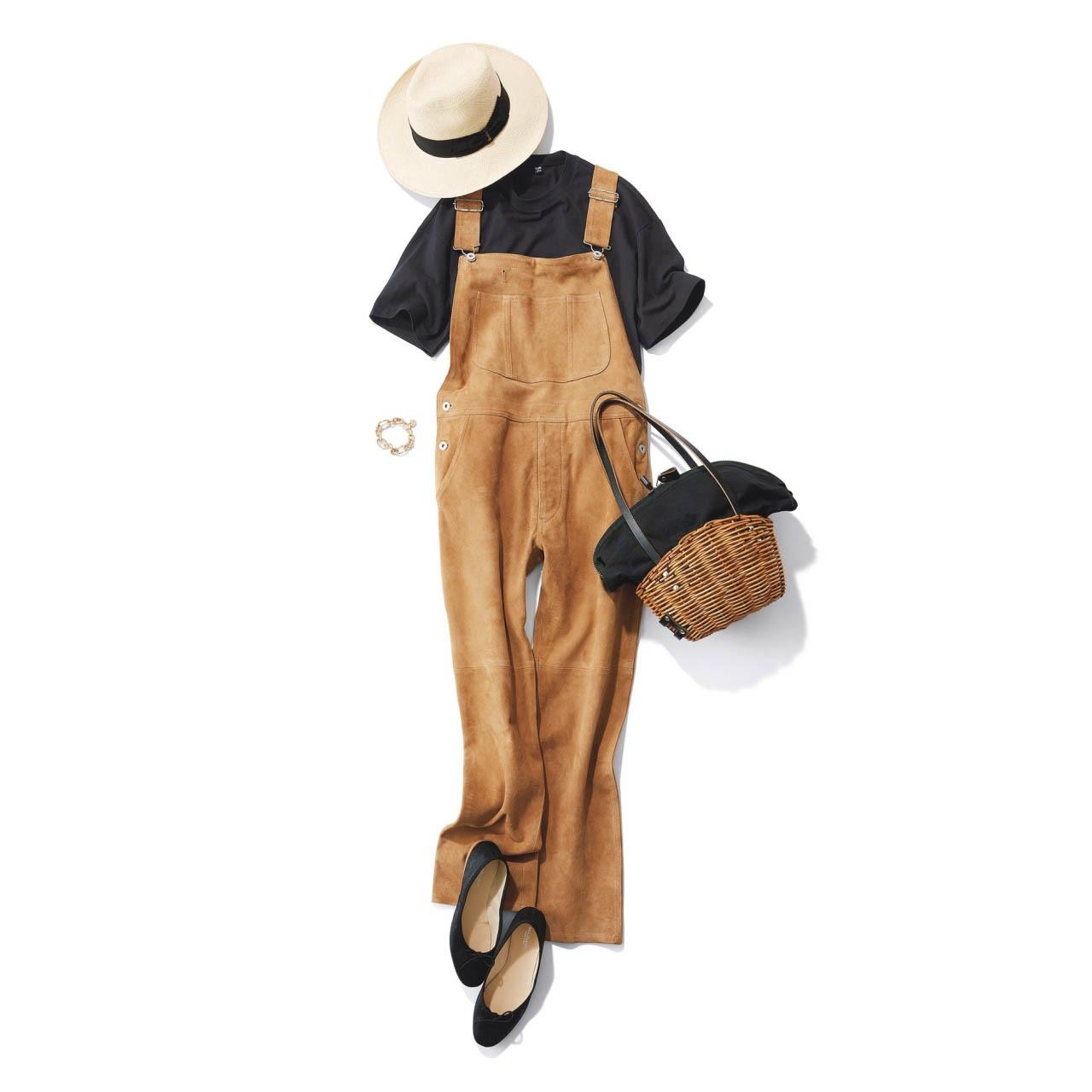 ■帽子×Tシャツ×サロペットコーデ