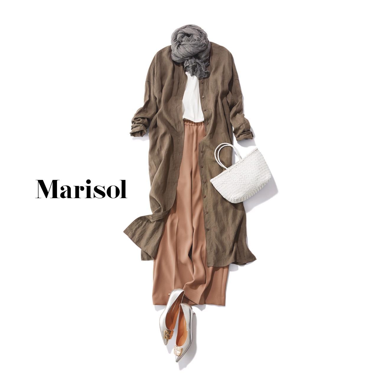 40代ファッション シャツワンピース×ワイドパンツコーデ
