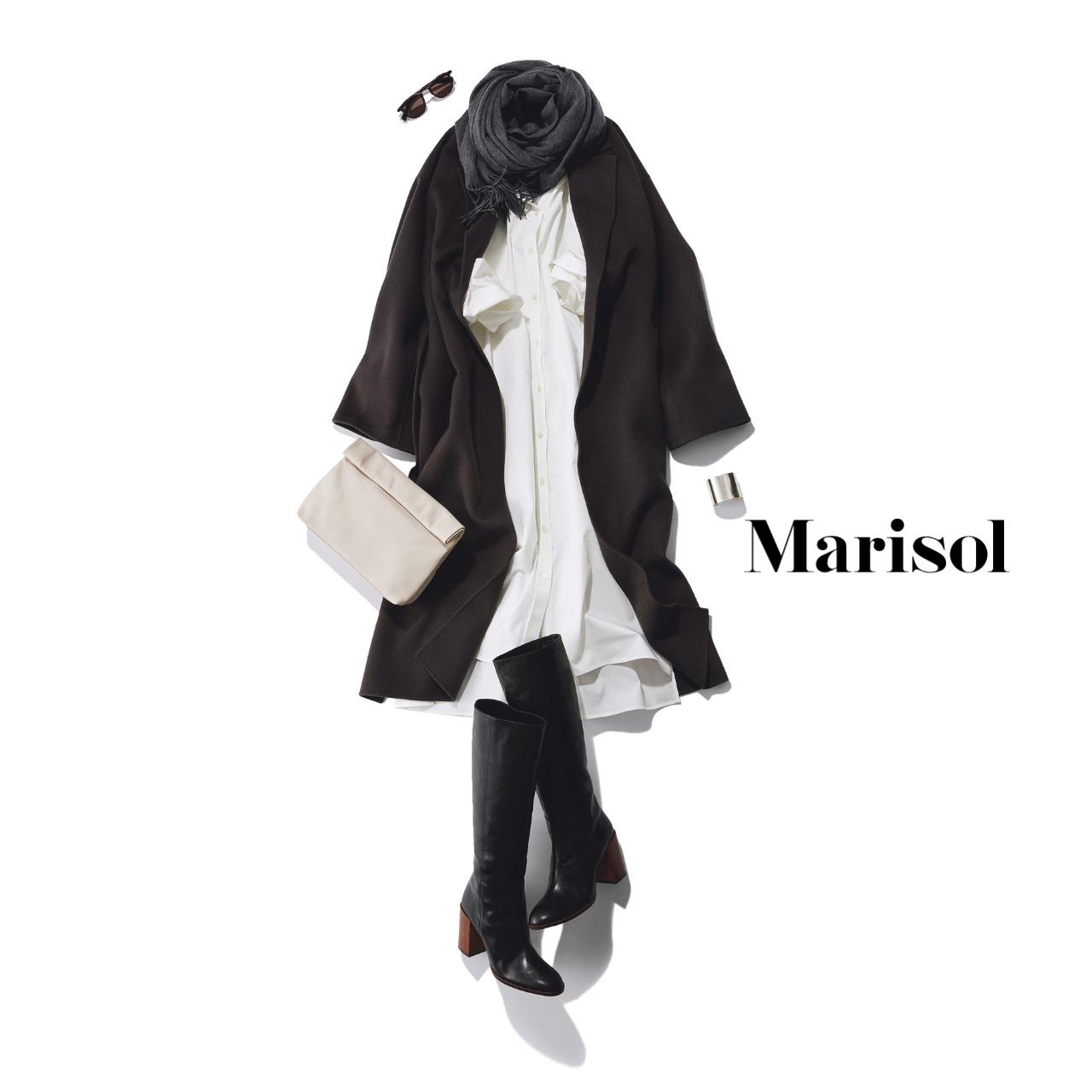 40代ファッション 白シャツワンピース×グレーコート×ロングブーツコーデ