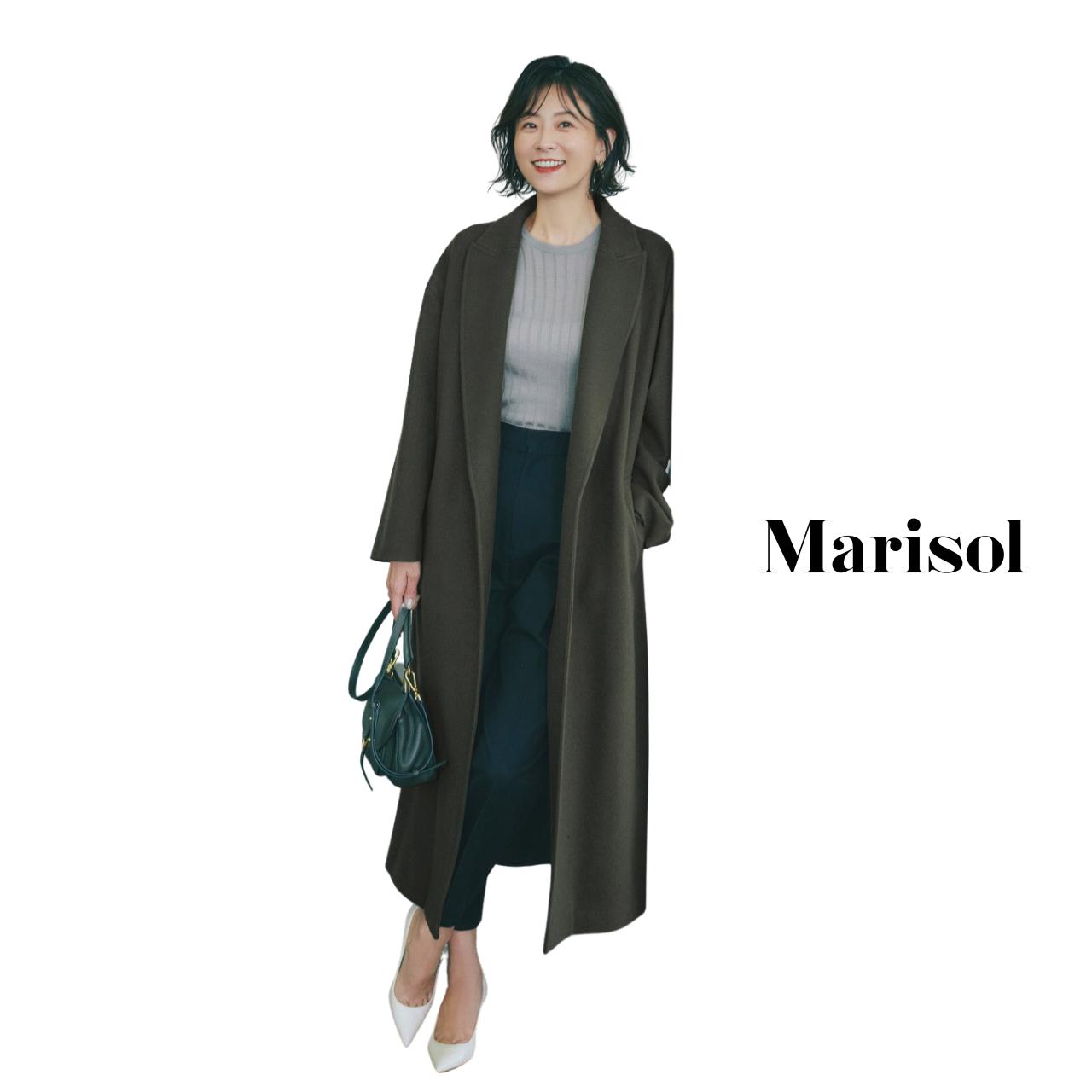 40代ファッション ロングコート×ニット×パンツコーデ