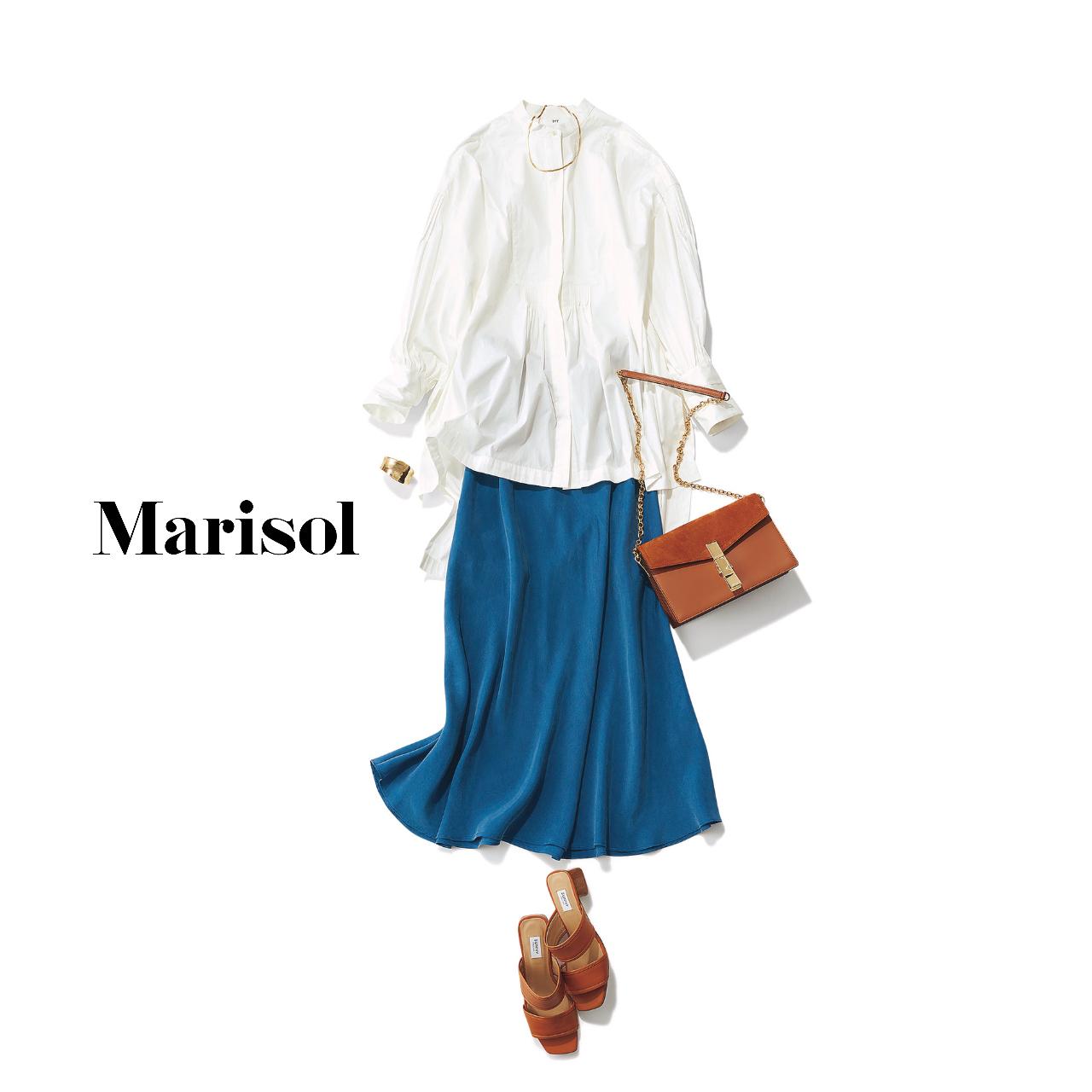 40代ファッション  ロングシャツ×ブルースカート コーデ
