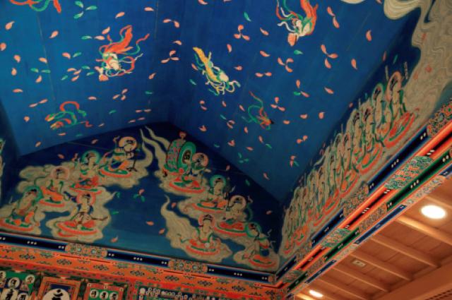 再現された往生極楽院の天井画