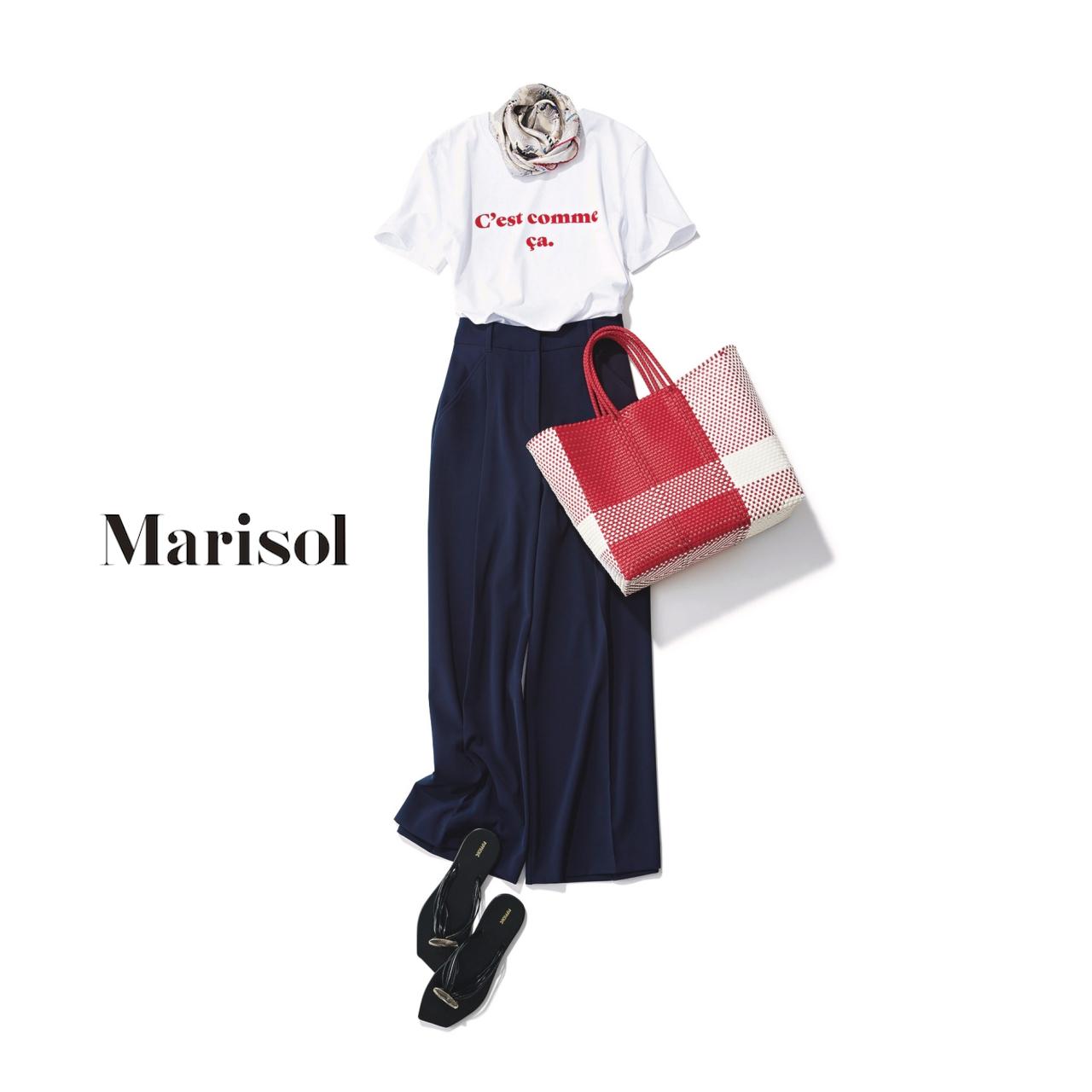 40代ファッション Tシャツ×ワイドパンツコーデ