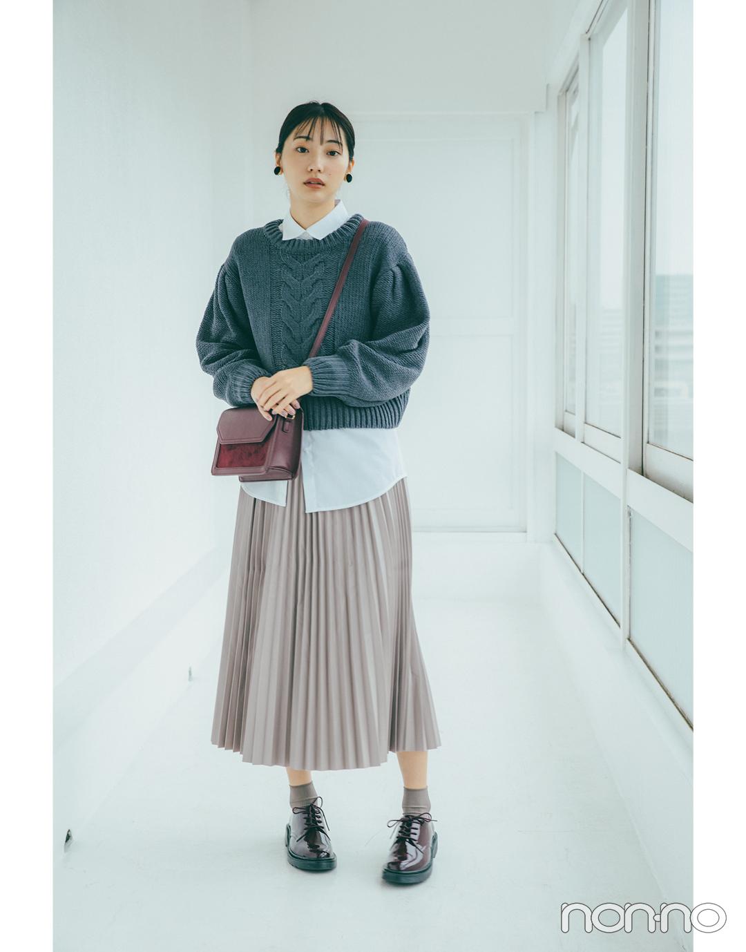 フェイクレザープリーツスカート(武田玲奈)