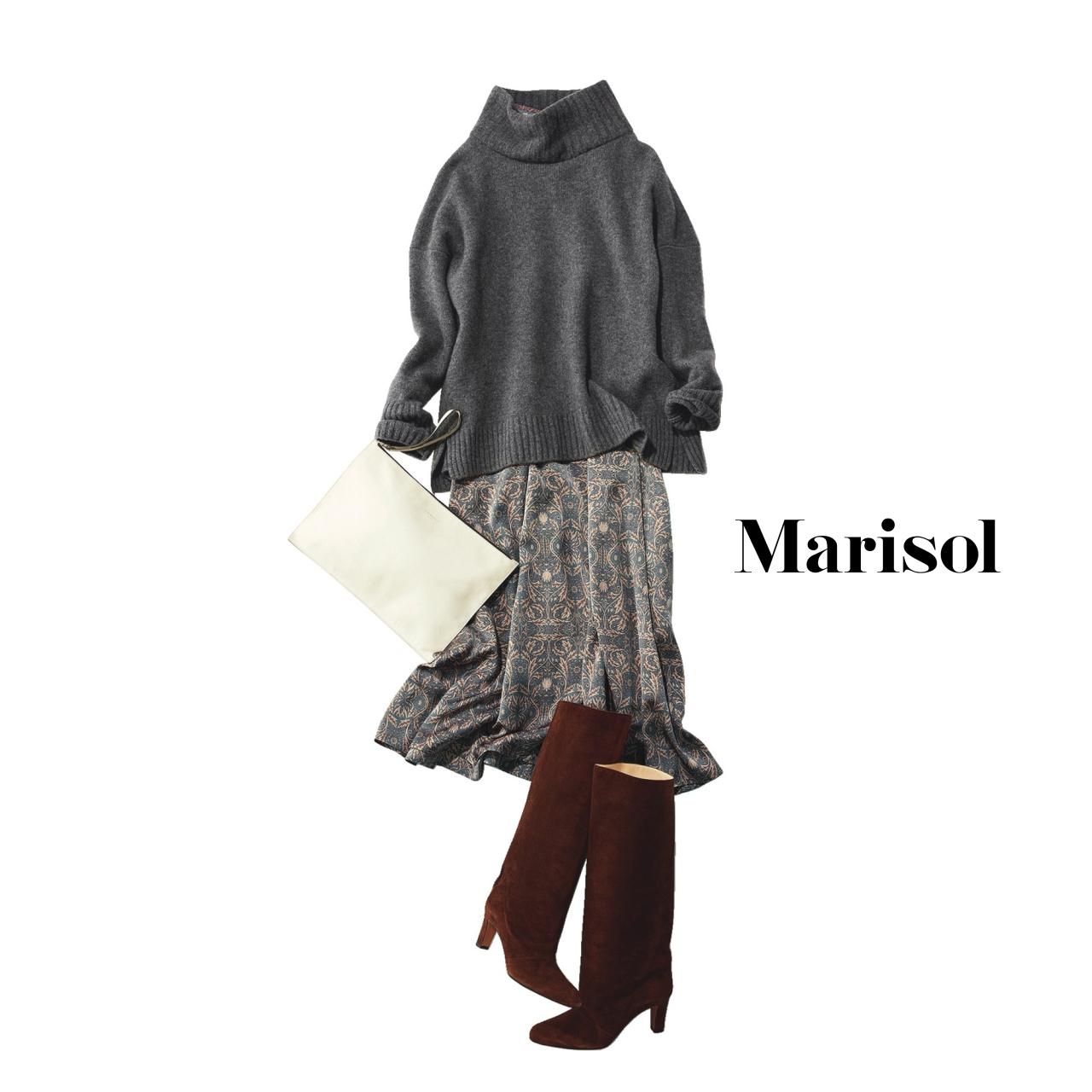 40代ファッション ざっくりニット×柄スカートコーデ