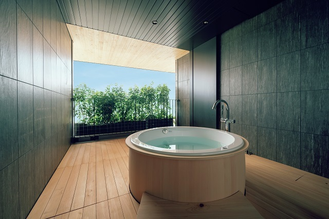 ホテルタイプの客室には、全5タイプがあり、露天風呂つきスイートルームも人気