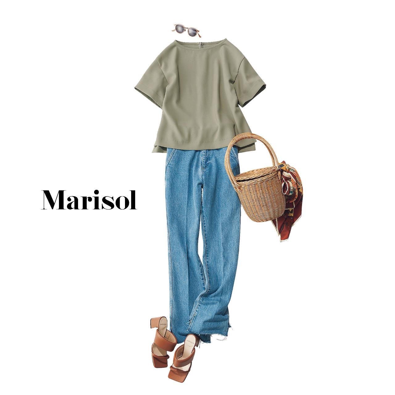 40代ファッション  Tブラウス×デニムパンツコーデ