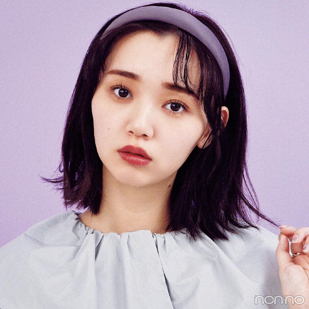 顔回りで甘可愛にカチューシャスタイルヘアアレンジの江野沢愛美