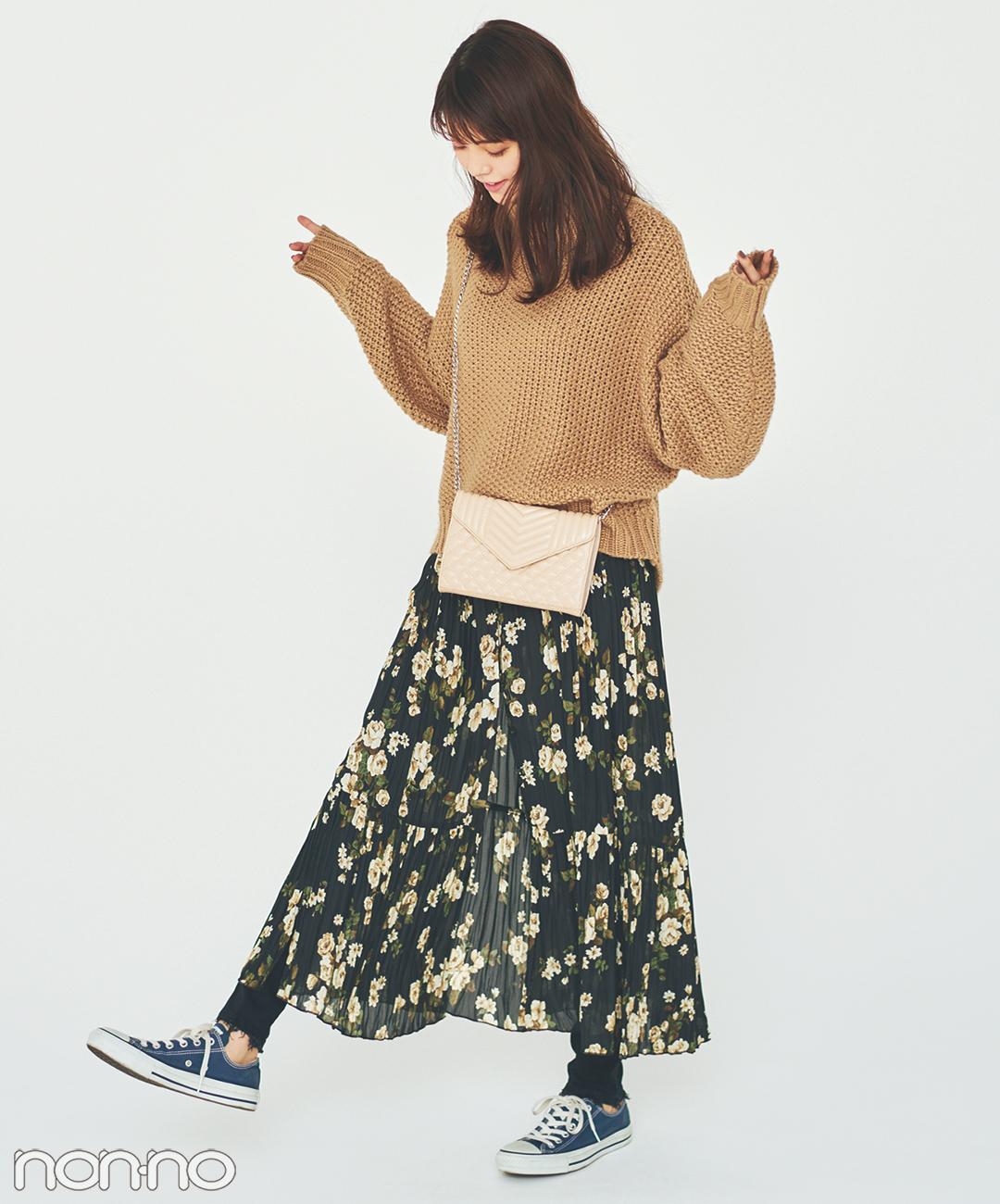 【春の花柄スカートコーデ】花柄スカートにスキニーをレイヤードして今っぽく
