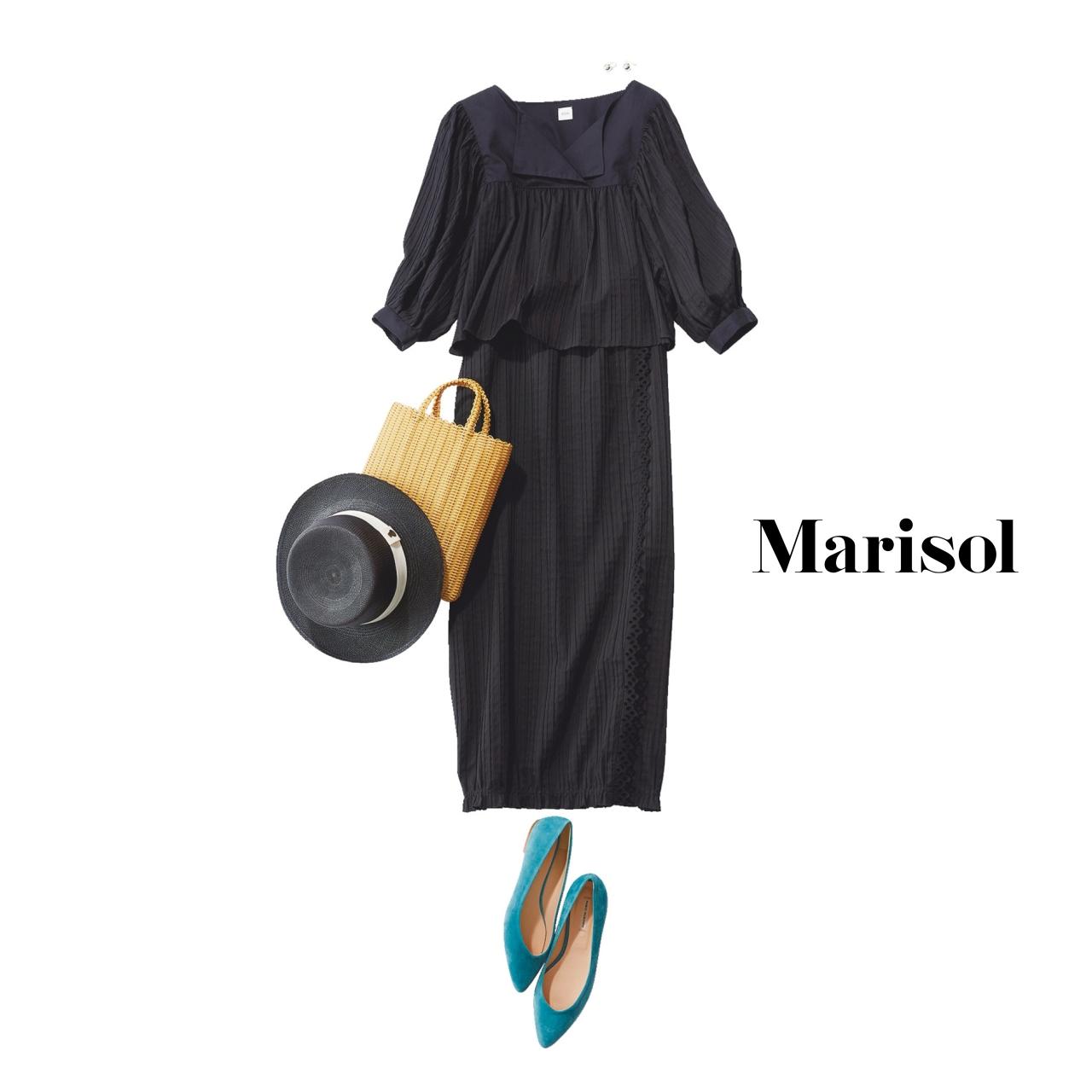 40代ファッション 甘ディテールの黒セットアップコーデ