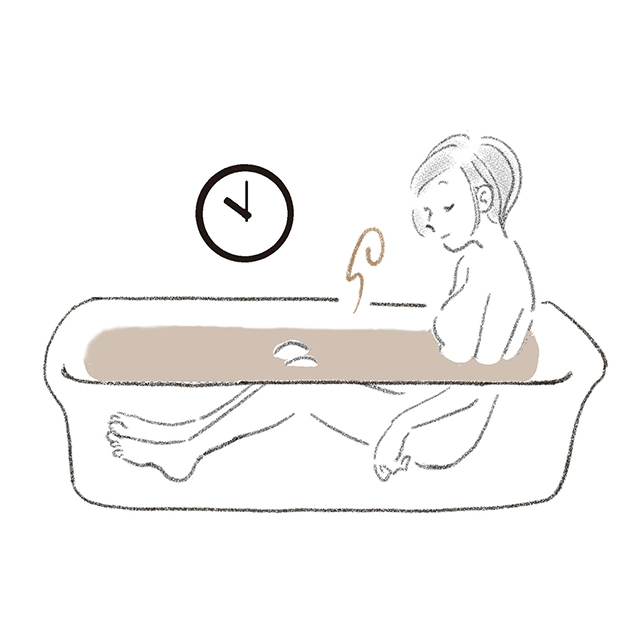 寝る1時間前に、ぬるめのお風呂を