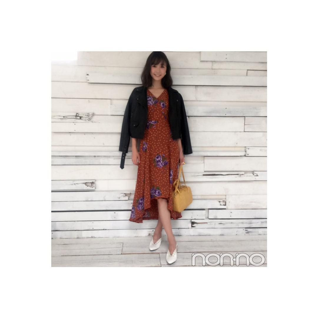 鈴木友菜は秋花柄をライダースで大人MIX! 【毎日コーデ】_1_1
