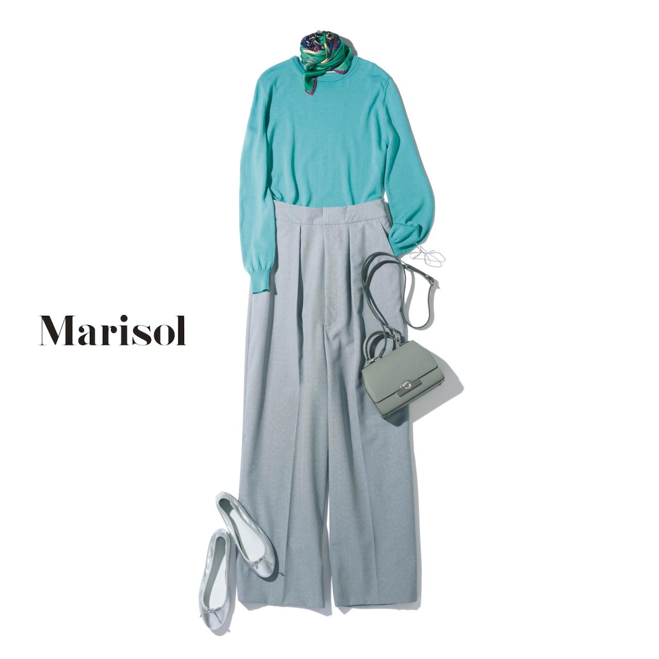 40代ファッション ミントブルーニット×グレーワイドパンツコーデ