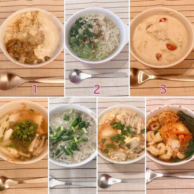 美味しかったレシピ1.2.3! 1.豆腐と豆乳のとろとろスープ 2.鶏肉ともやしのスープ 3.チキンココナッツスープ