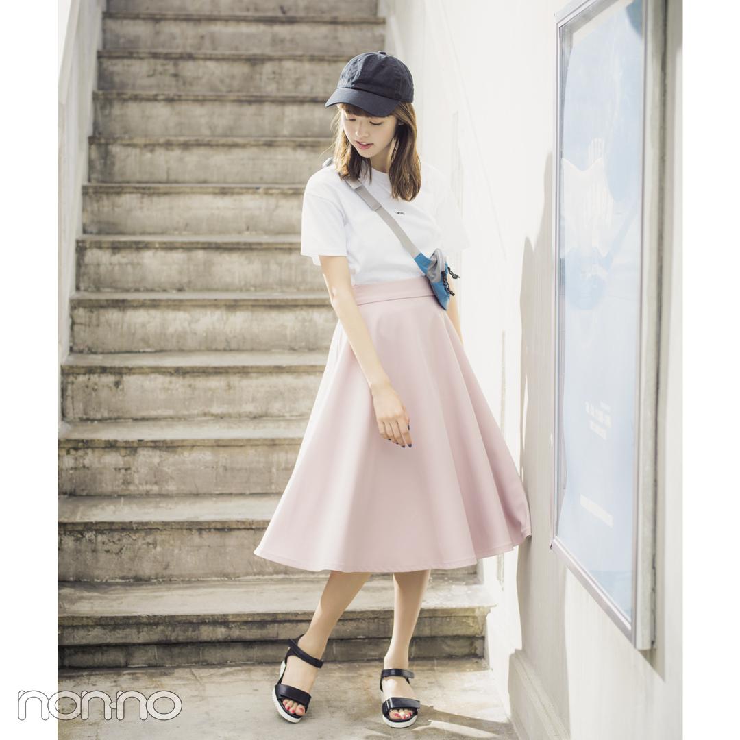 夏のトレンドスカート着回しコーデ、ラベンダーのフレアならこう! _1_1-5
