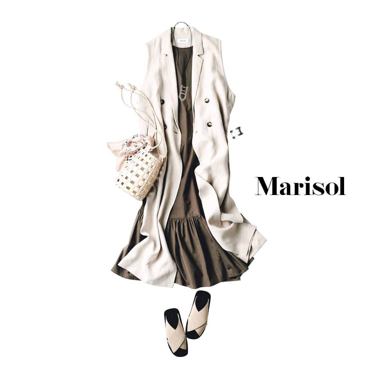 40代ファッション  白ジレ×ワンピース コーデ