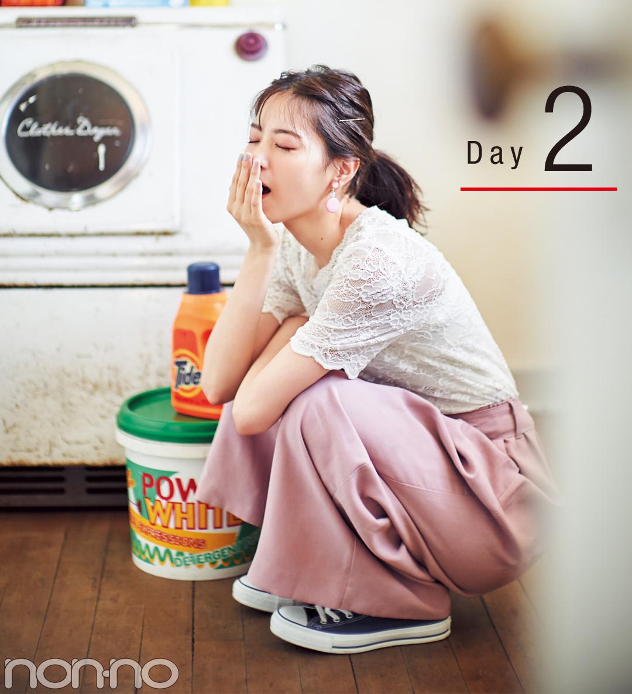 西野七瀬のスカーチョ着回し☆トレンドのくすみピンクで4Days_1_2-2