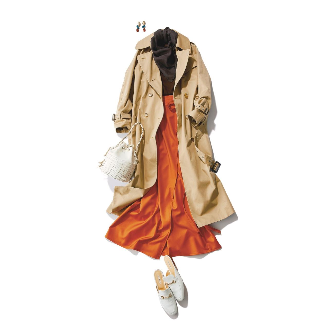 ベージュのトレンチコート×ニット&オレンジのラップスカートのファッションコーデ