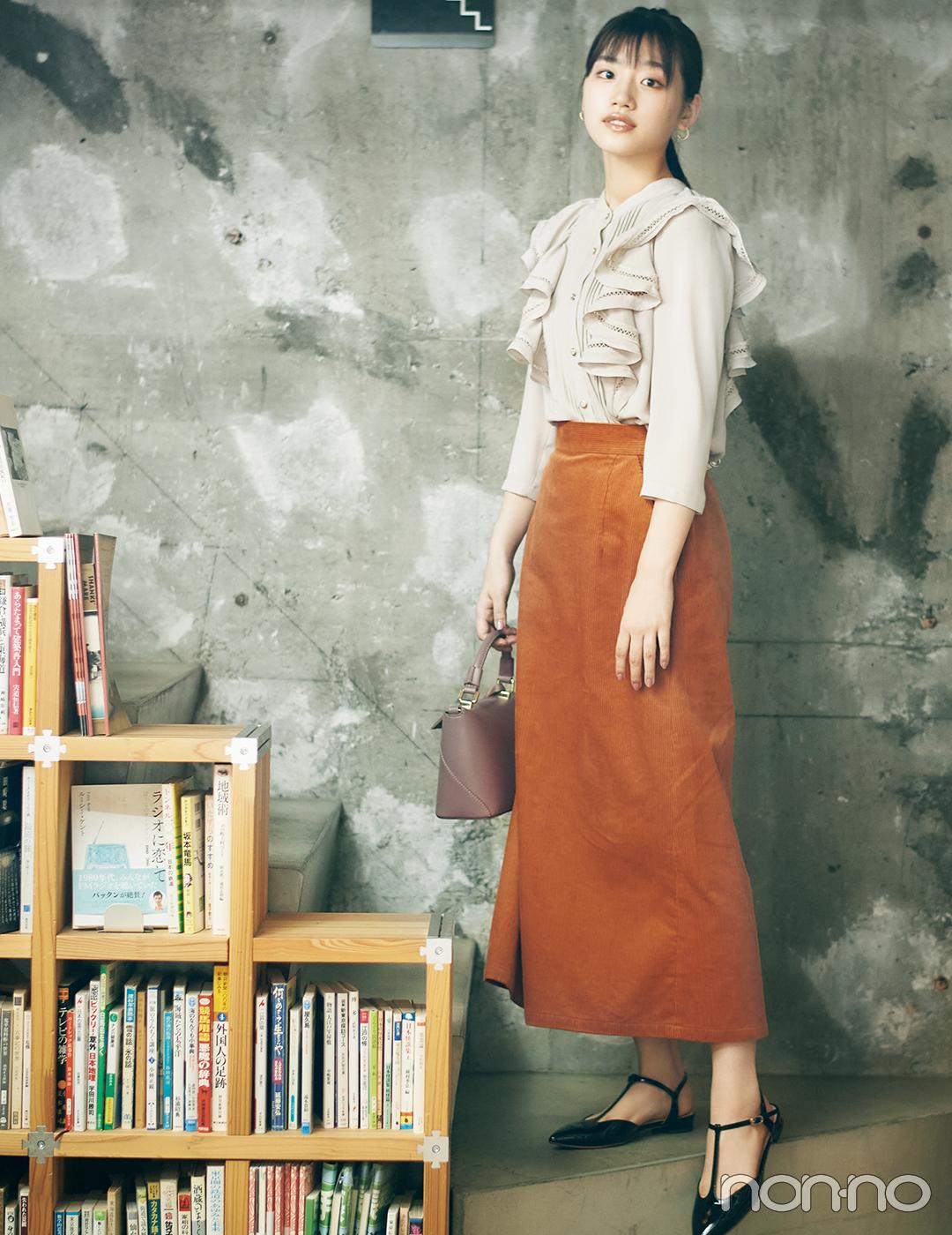 たっぷりフリルのブラウスと秋色スカートでおめかしコーデ【毎日コーデ】