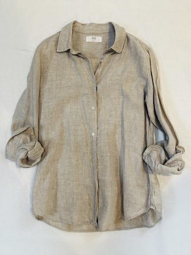 私のベージュコーデは、UNIQLO名品リネンシャツ!_1_2