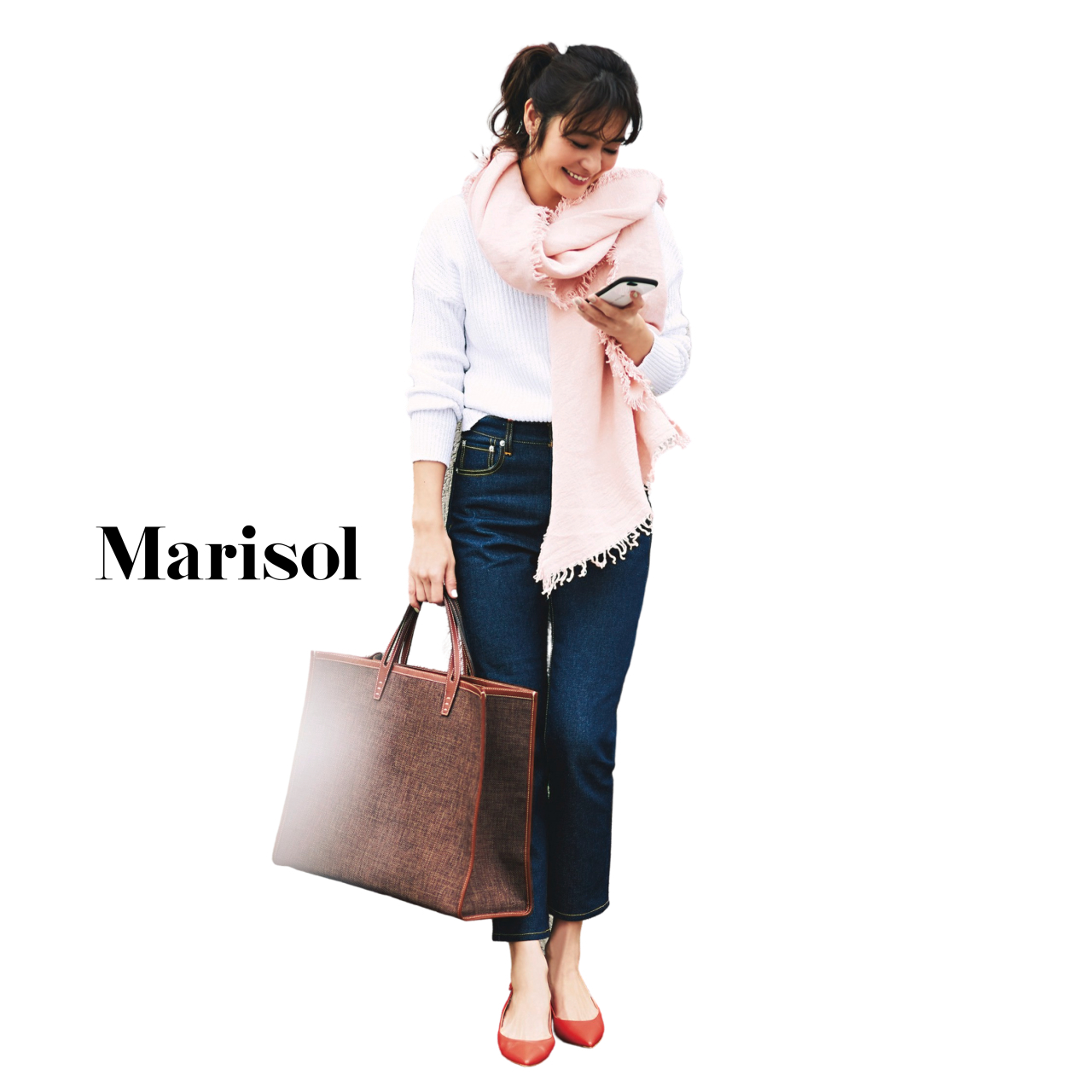 40代ファッション 白ニット×デニムパンツ×ストールコーデ