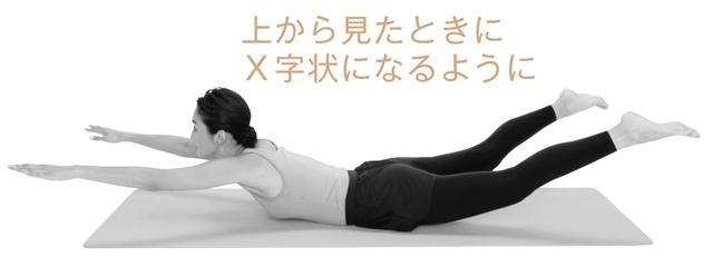 うつ伏せの状態からおなかで体を支え、手足を大きく広げて浮かせる