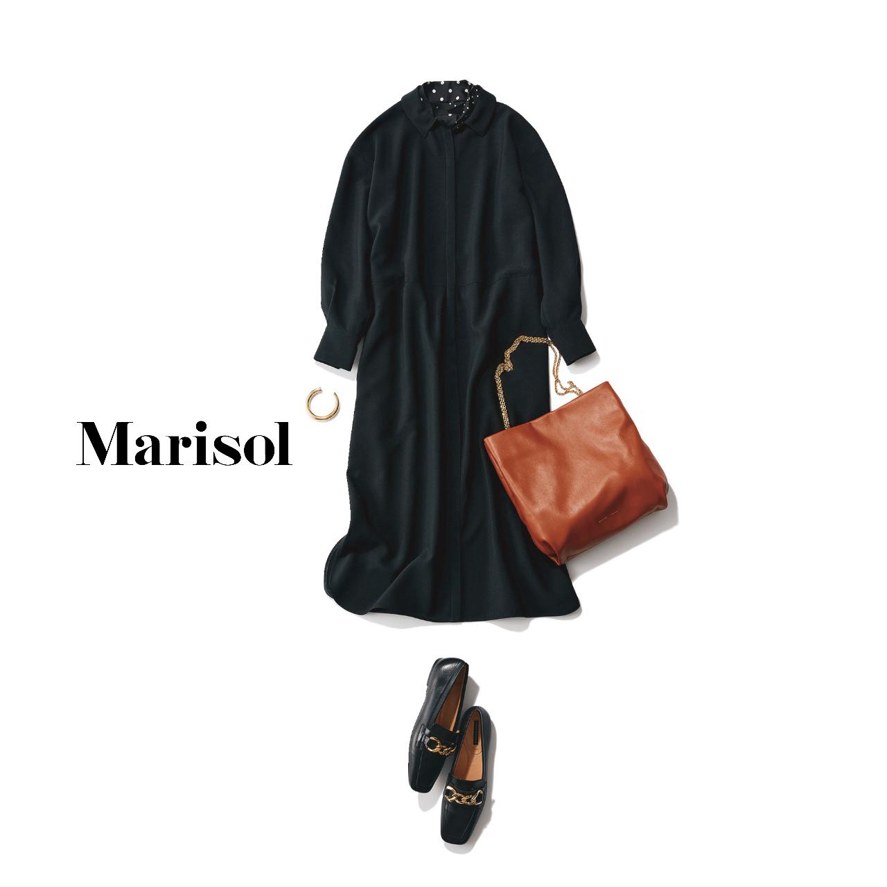 40代ファッション  黒ワンピースコーデ