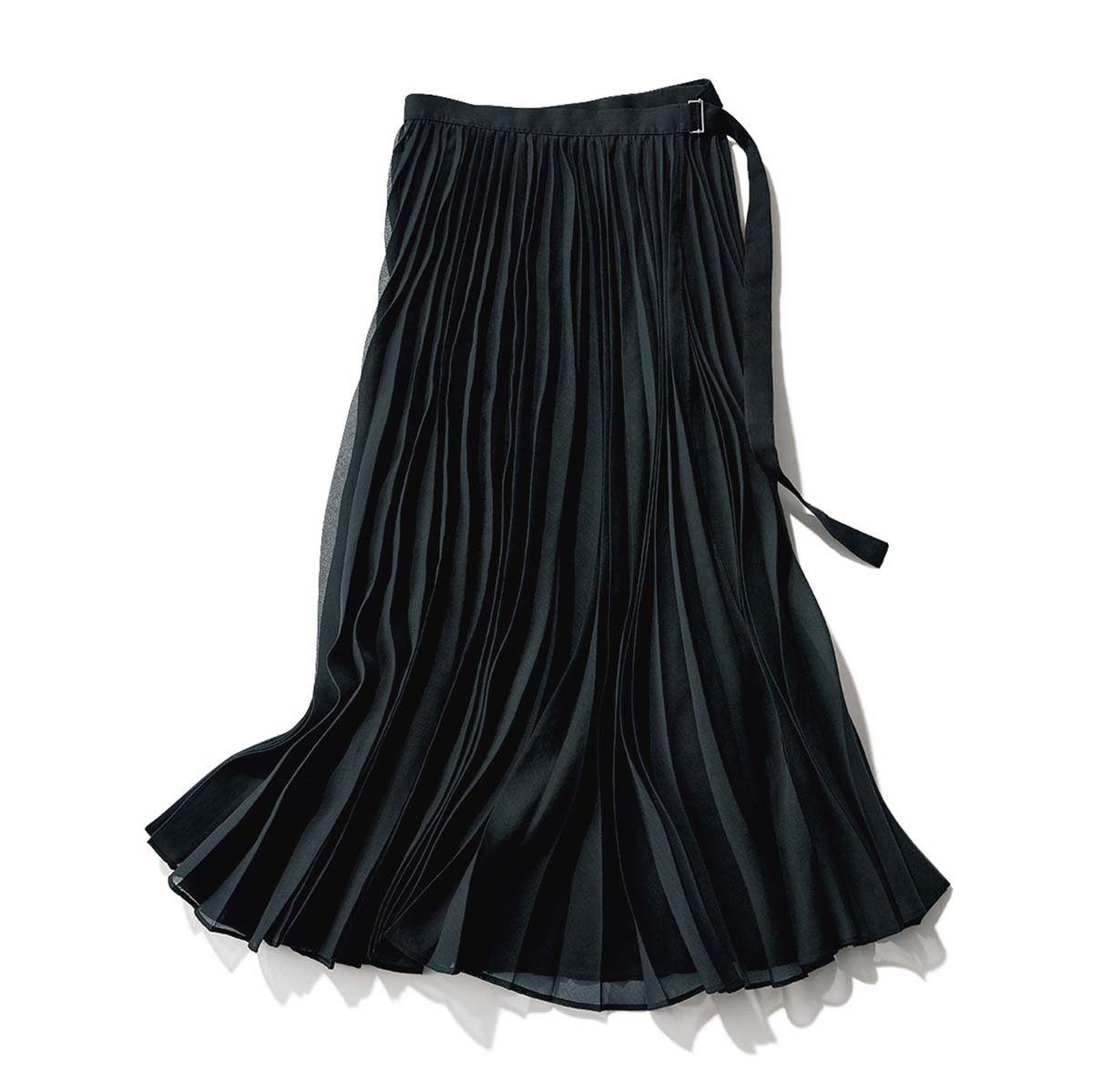 黒のオーガンジープリーツスカート