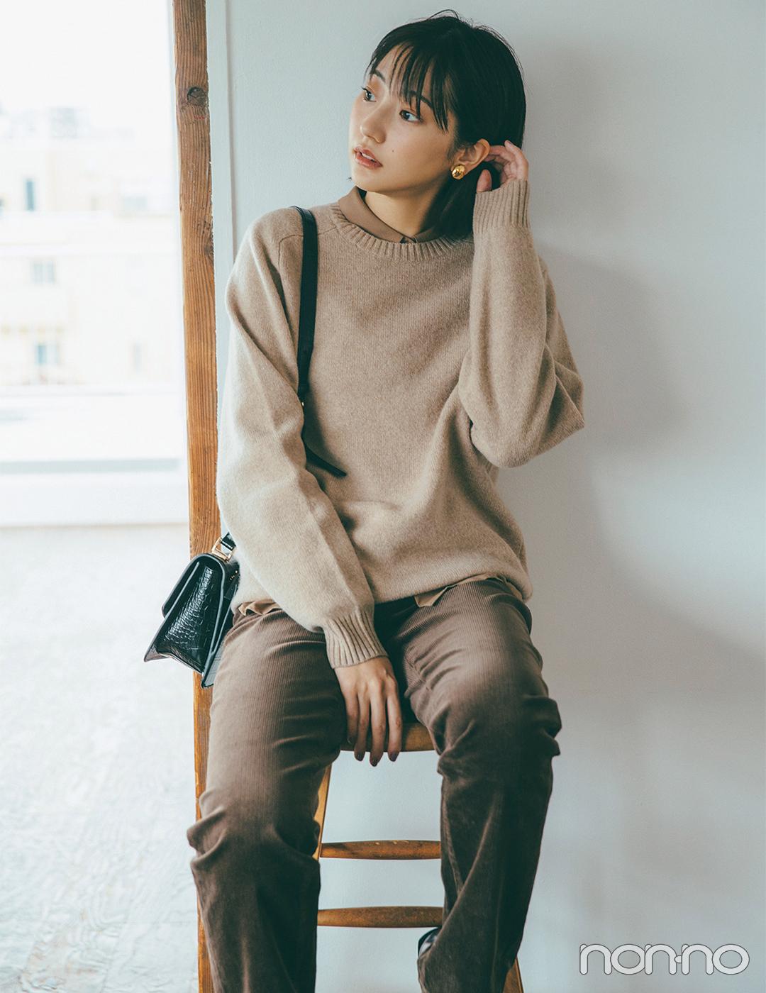 武田玲奈 プレミアムラムクルーネックセーター(UNIQLO)