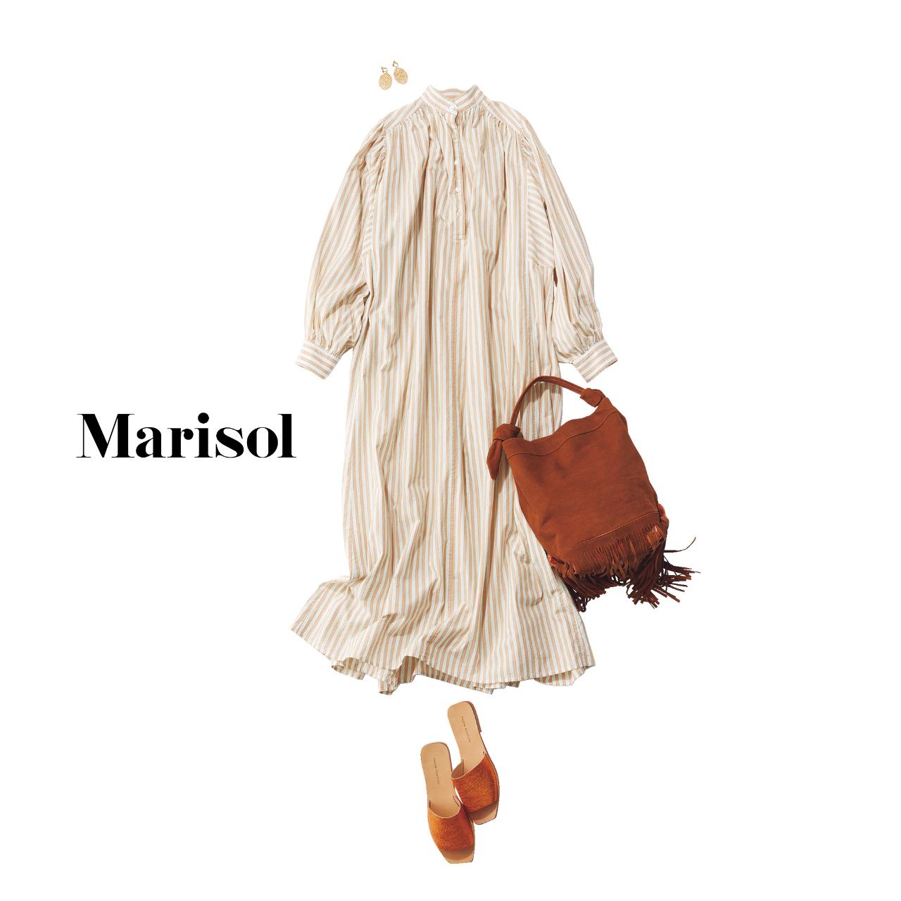 40代ファッション  シャツワンピース×サンダル コーデ