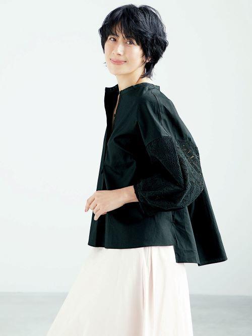 E by eclat 袖レースバンドカラーシャツ ¥20,900